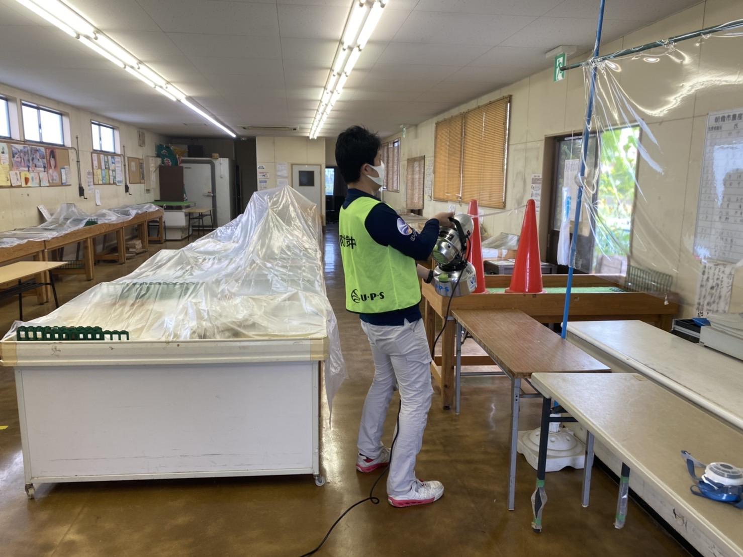 朝霞市 浜崎農業交流センター(農産物直売所)の予防消毒を行いました。